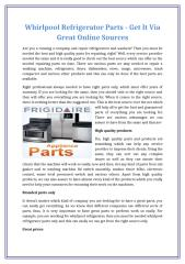 Whirlpool Refrigerator Parts - Get It Via Great Online Sources.docx