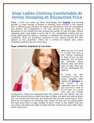 Shop Ladies Clothing Comfortable At Online Shopping At Discounted Price.doc